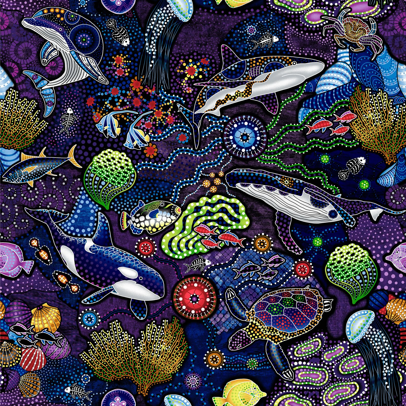Way Under Aboriginal Sea Life - Purple/Blue