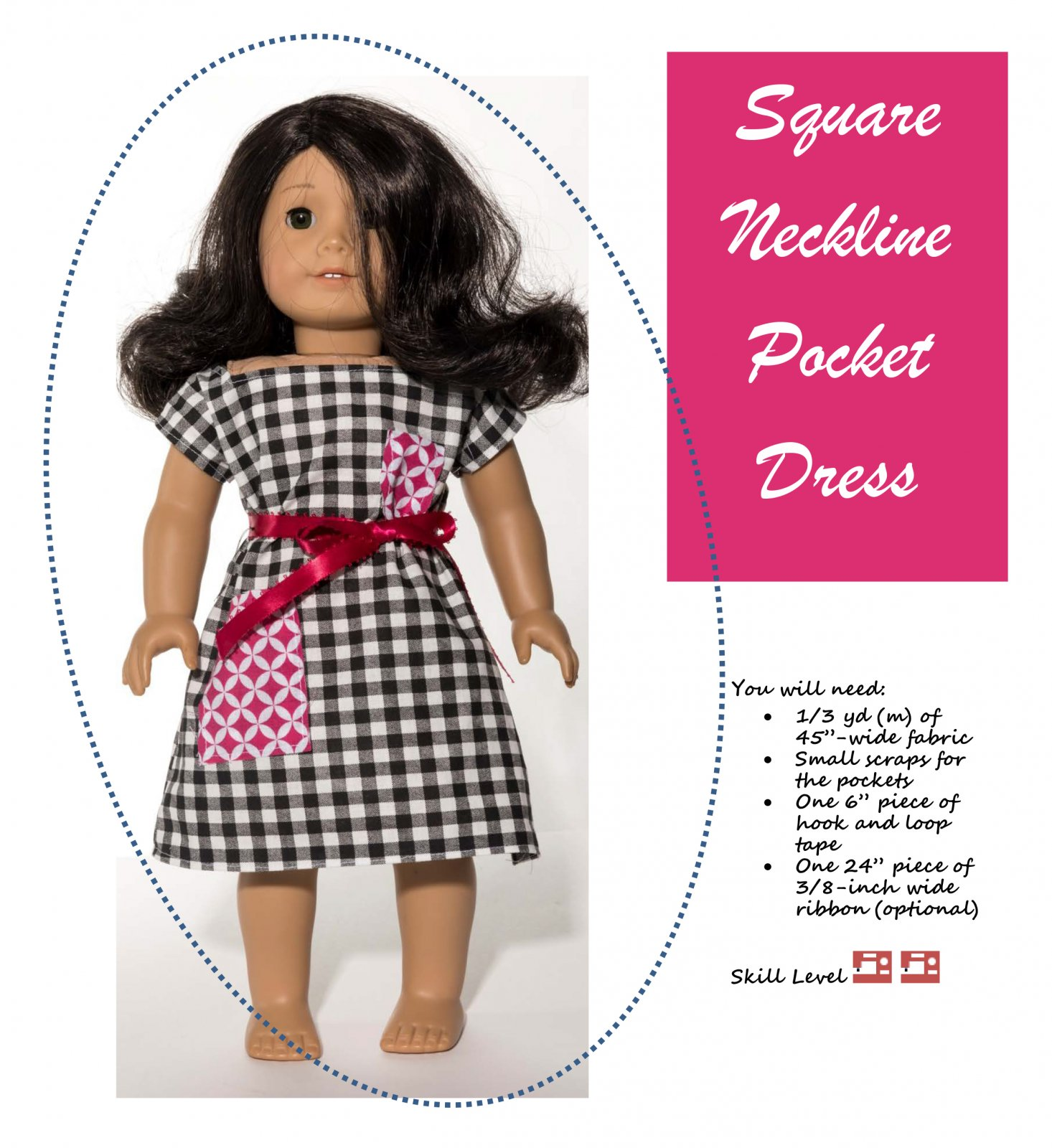 Square Neck Dress  18-Inch Doll Sewing Pattern
