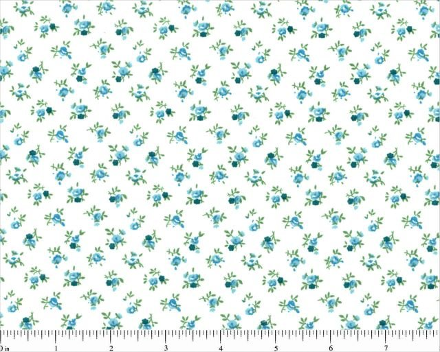 108 Quilt Backing Turquoise Floral on White background