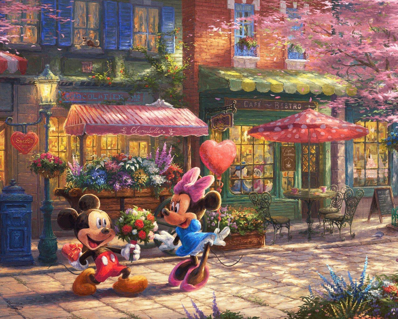Disney Dreams Mickey & Minnie Sweetheart Cafe Panel 36in