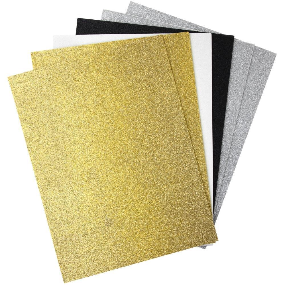 Glitter Sticky Back Foam Sheets 9X12 6/Pkg