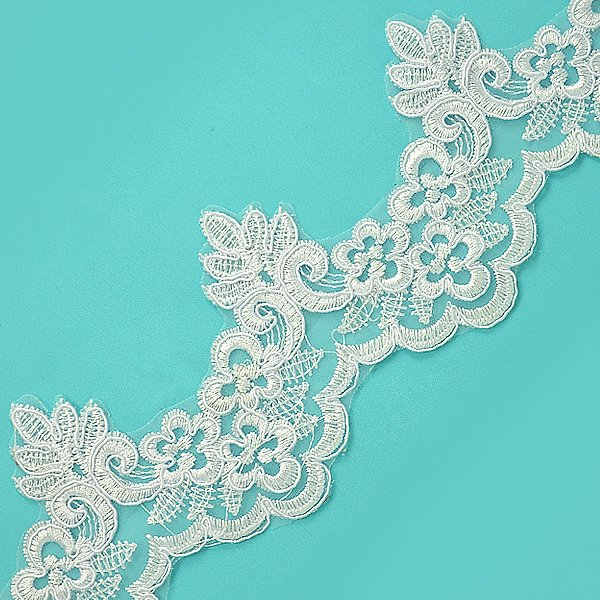 White Embroidered Lace Trim