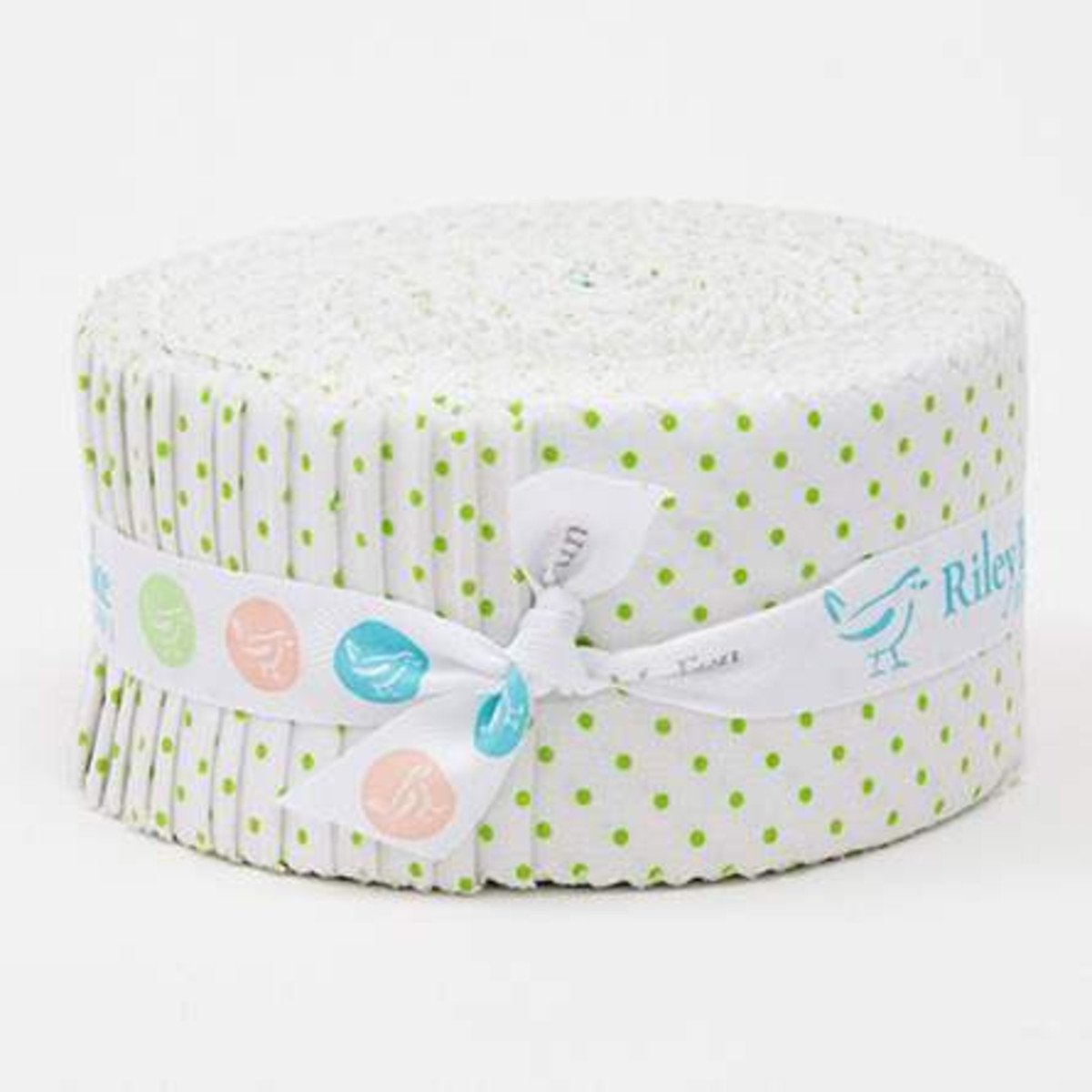 Swiss Dot On White Color Lime 2-1/2in Rolie Polie 40 Pcs