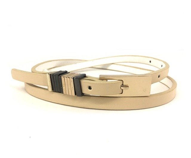 Beige Square Buckle Belt