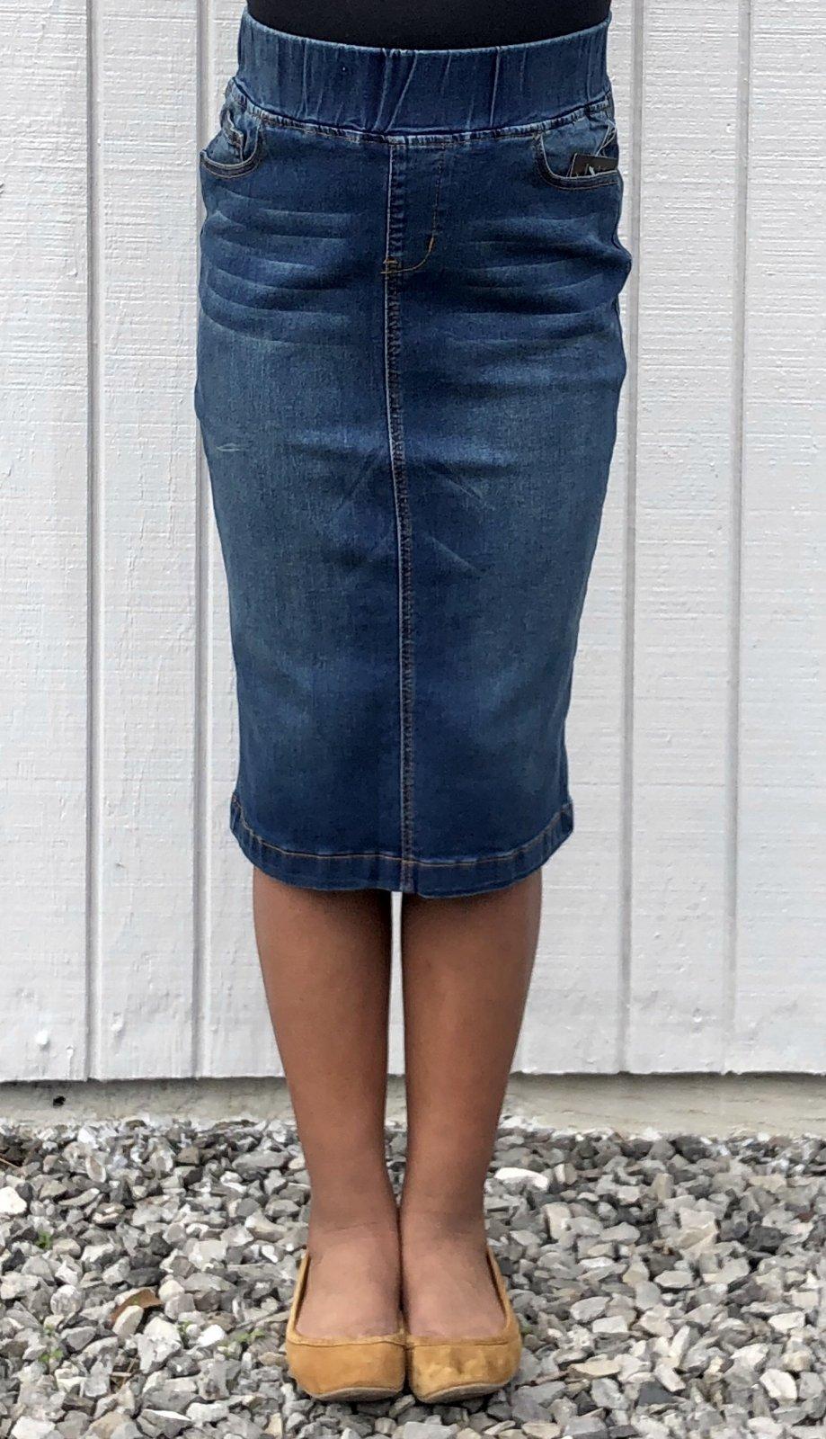 Vintage Elastic Denim Skirt