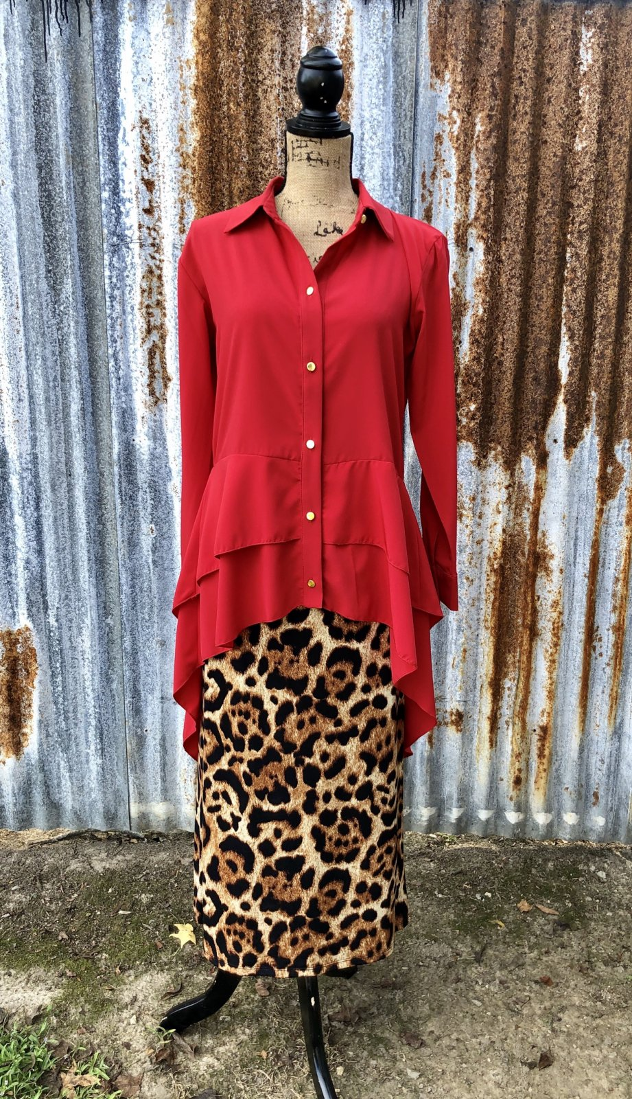 Button Up Hi-Lo Tunic (Red)