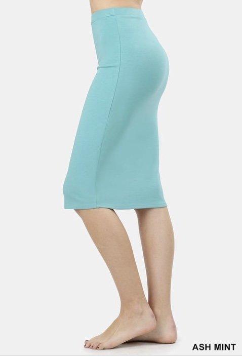 376f99a0d9928d Ash Mint Ponte Pencil Skirt