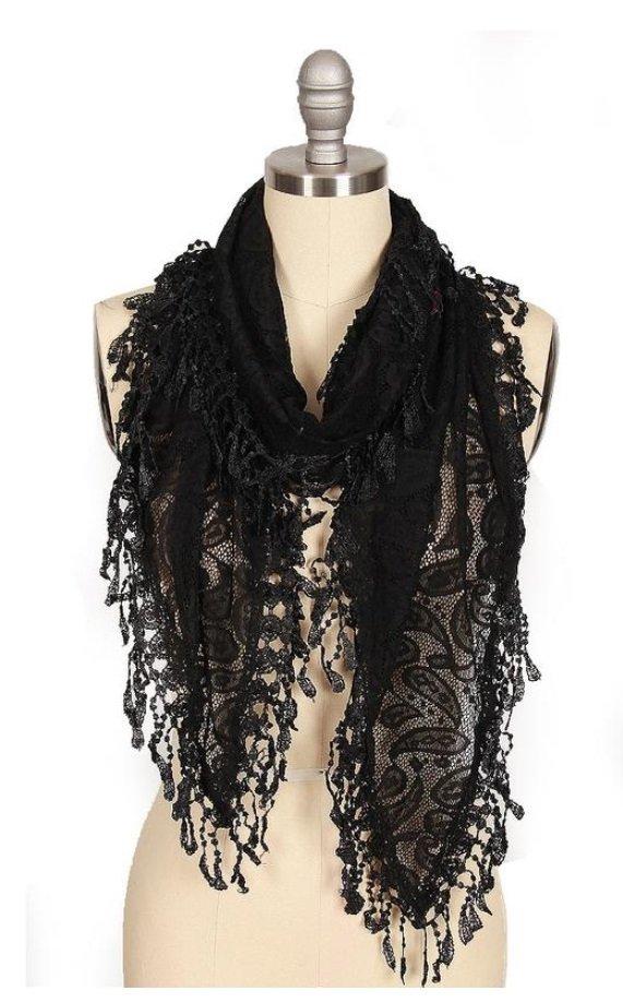 Black Long Lace Scarf