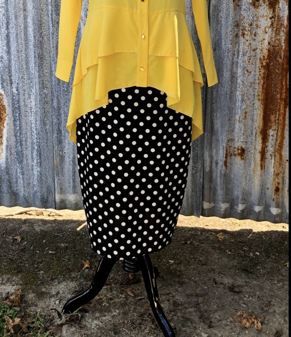 Black/White Dot Pencil Skirt