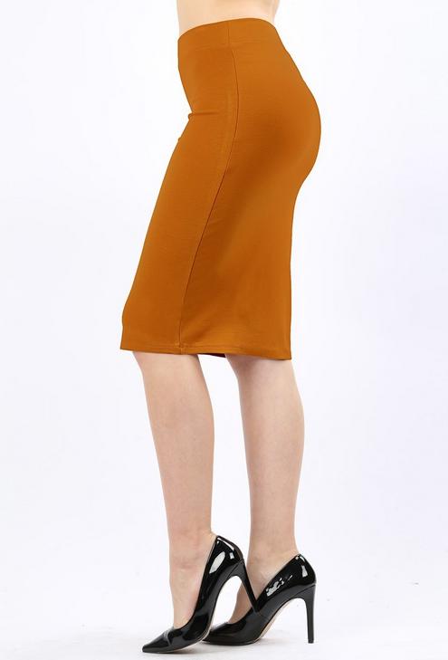460c8cbbb31a59 Desert Mustard Ponte Pencil Skirt