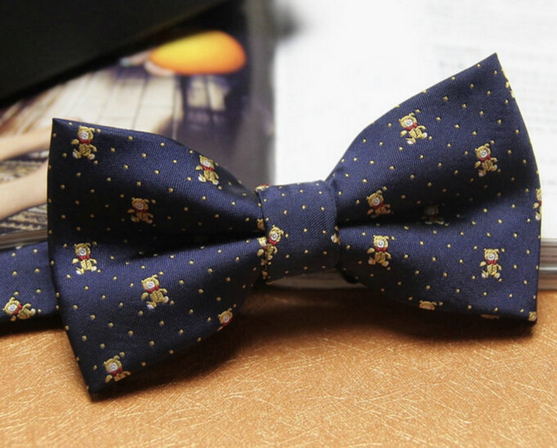 Navy Teddy Bear Bow Tie