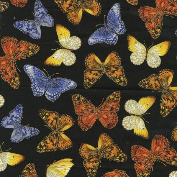 Benartex Bright Black Garden Butterfly