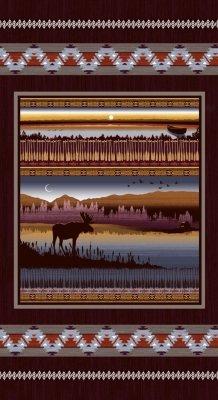 Studio E Burgundy Moose Creek Lake Panel