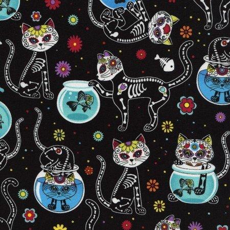 Sugar Skulls Cats Black C4159
