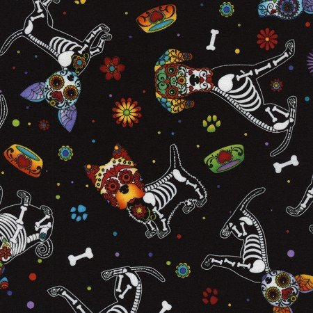 Sugar Skulls Dogs Black C4640
