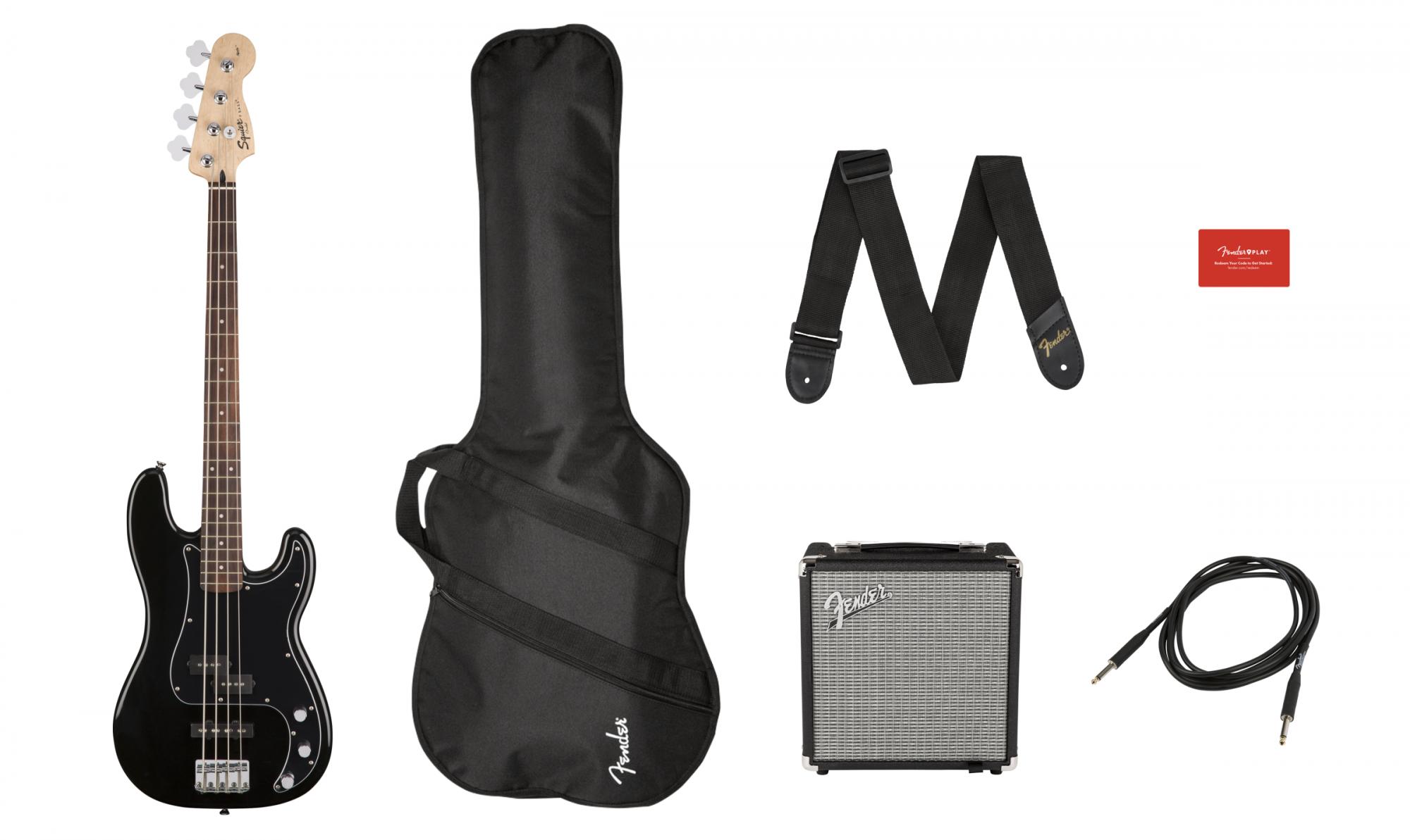 Squier Affinity Series Precision Bass PJ Pack, Laurel Fingerboard, Black, Gig Bag, Rumble 15 - 220V AR