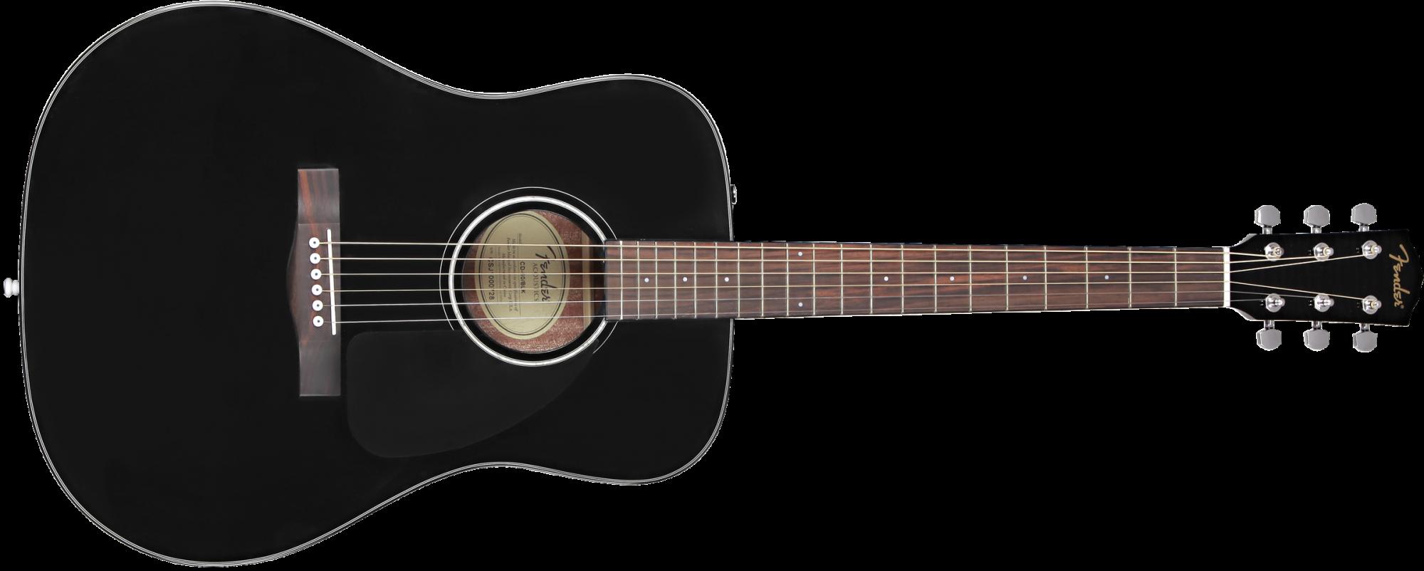 Fender CD-60 Dreadnought V3 w/Hardshell Case, Walnut Fingerboard, Black