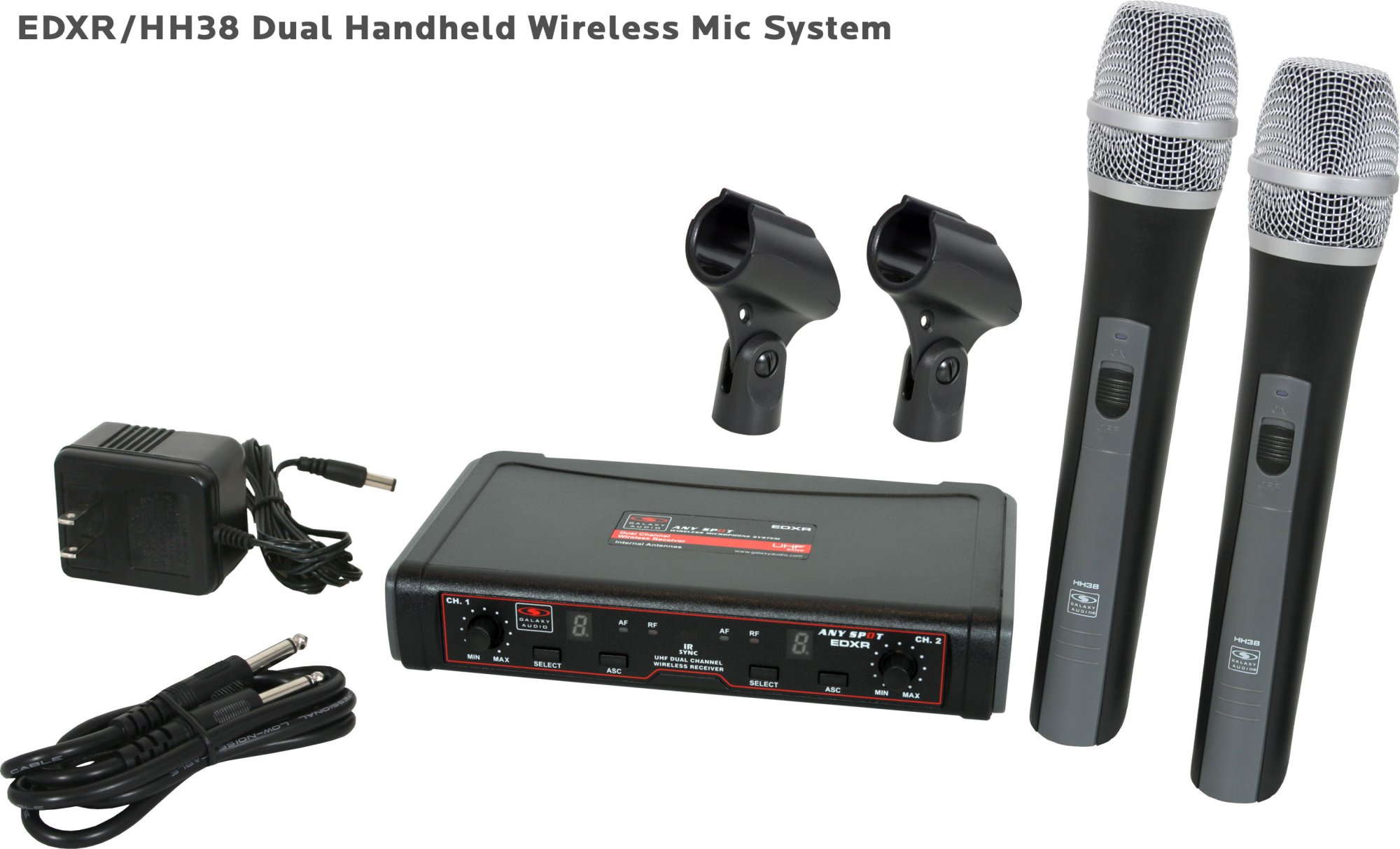 Galaxy Audio EDXR/HH38N Dual Channel Wireless Microphone System includes the EDXR Receiver and 2 HH38 Handheld Transmitters Frequency CODE N 518-542 MHz Band N
