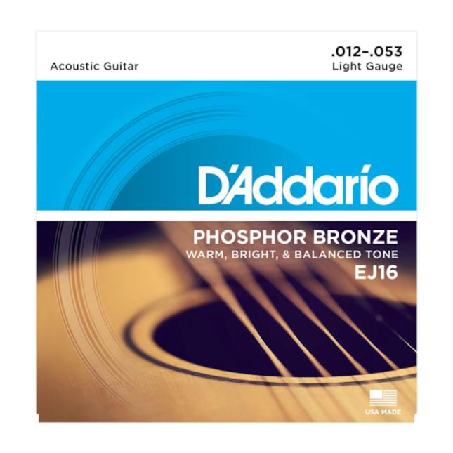 D'Addario EJ16 Phosphor Bronze Acoustic Guitar Strings, Light, 12-53