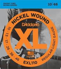 D'Addario EXL110 Nickel Wound Electric Guitar Strings, Regular Light, 10-46