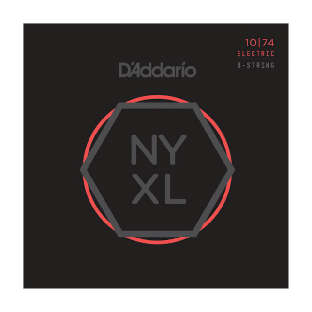 D'Addario NYXL1074 Nickel Wound 8-String Electric Guitar Strings, Light Top / He...