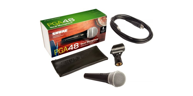 Shure PGA48 Vocal Microphone w/15ft Cable XLR-QTR