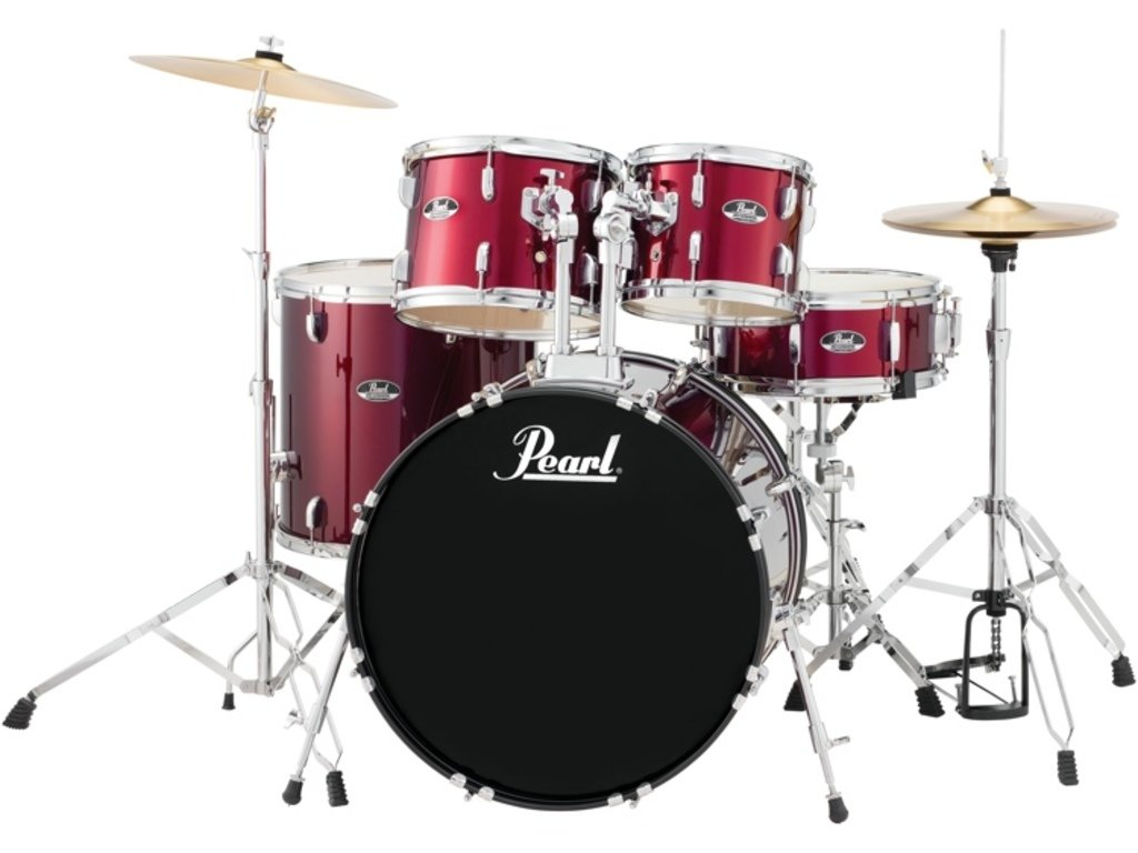 Pearl Roadshow 5-piece Complete Drum Set with Cymbals - 20 Kick - Wine Red