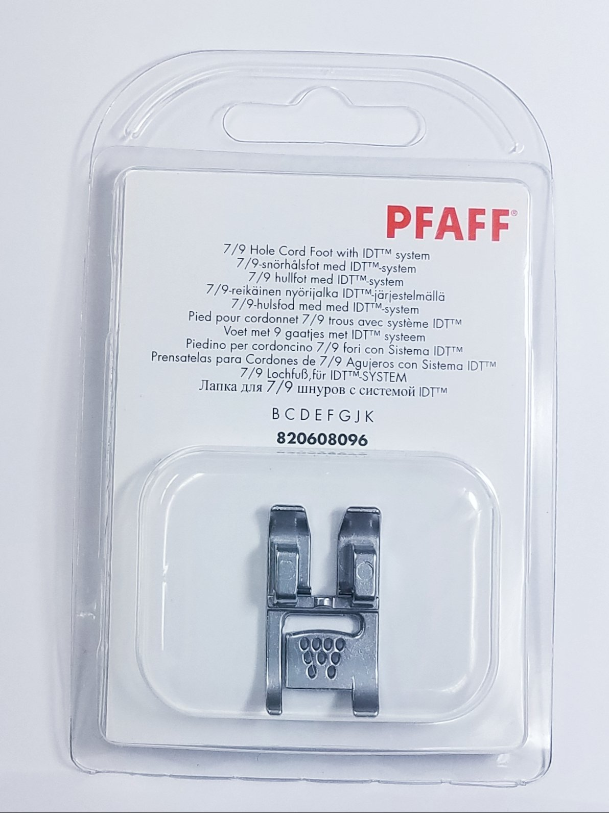 Pfaff 7/9 Hole Cord Foot with IDT