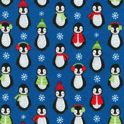 Kaufman Bundled Buddies 18354 4 Blue Penguins Flannel