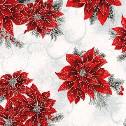 Kaufman Holiday Flourish Metallic 12 18336 186 Silver