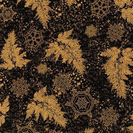 Kaufman Holiday Flourish Metallic 12 18341 2 Black