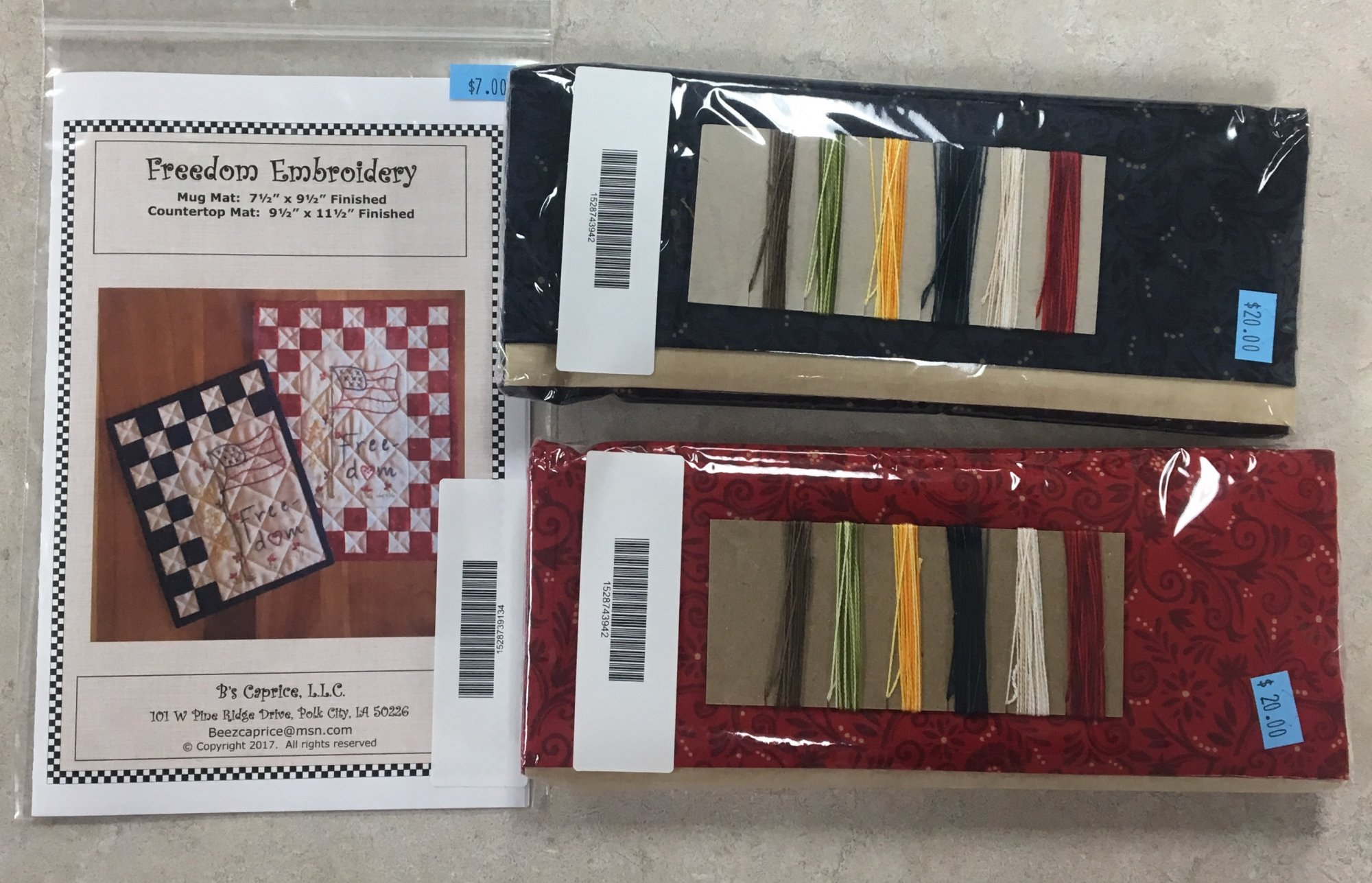 Freedom Embroidery Kit Red or Blue