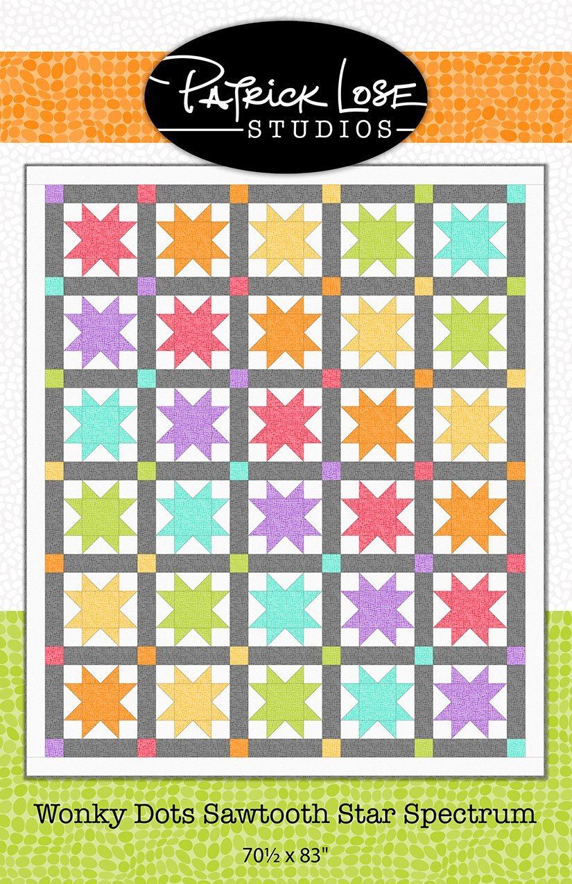 Patrick Lose Wonky Dots Sawtooth Star Spectrum Quilt Pattern