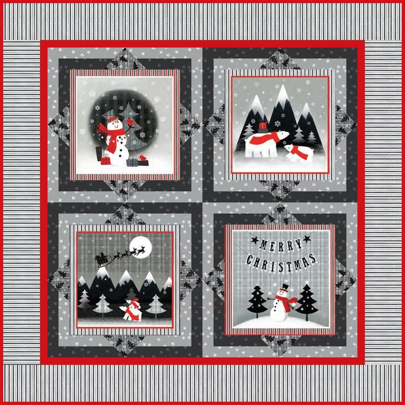 RED & GREY CHRISTMAS QUILT KIT