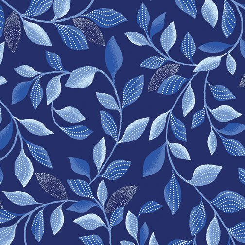 Blue Brilliance Shimmer Leaves - Navy