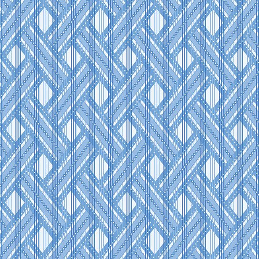 Blue Brilliance Shimmer Basket Weave - White
