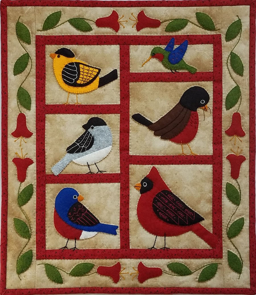 Wool Wall Quilt - Backyard Birds