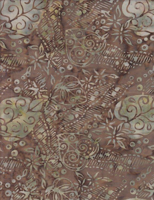 Batik - Brown with Leaves