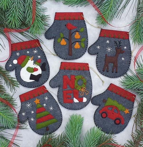 Wool Ornaments - Charcoal Mittens