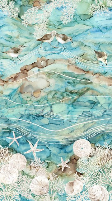 +White Sands - Birds and Shells on Watercolor
