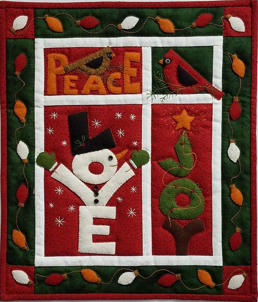 Wool Wall Quilt - Love, Joy, Peace