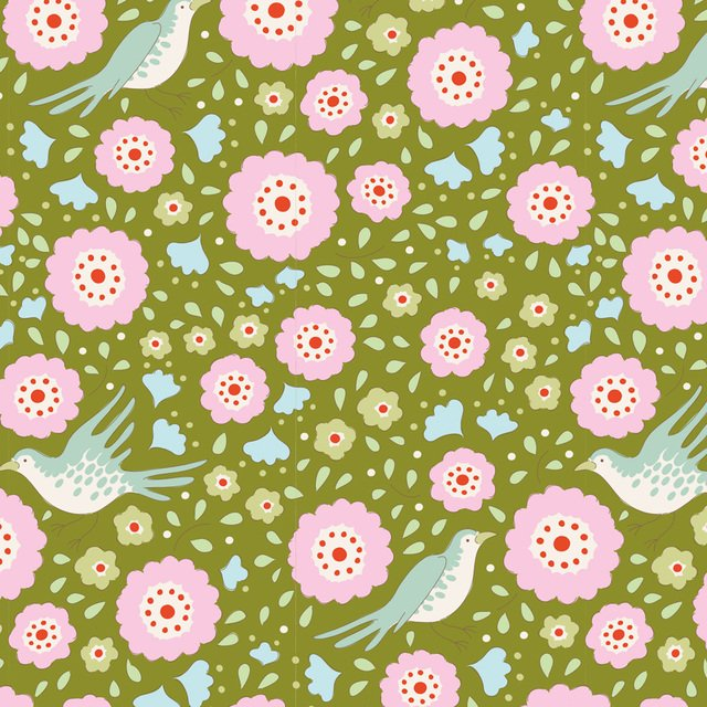 Tilda - Bird Pond - Lovebirds Green