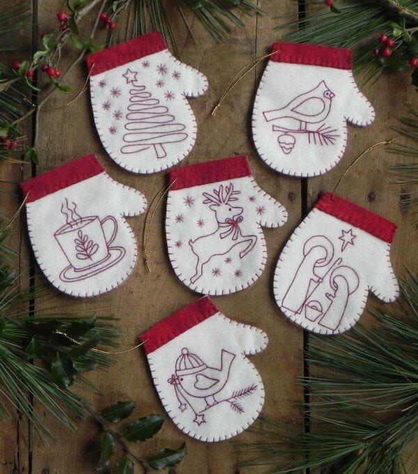 Wool Ornaments - Redwork Mittens
