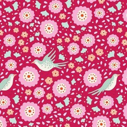Tilda - Bird Pond - Lovebirds Raspberry