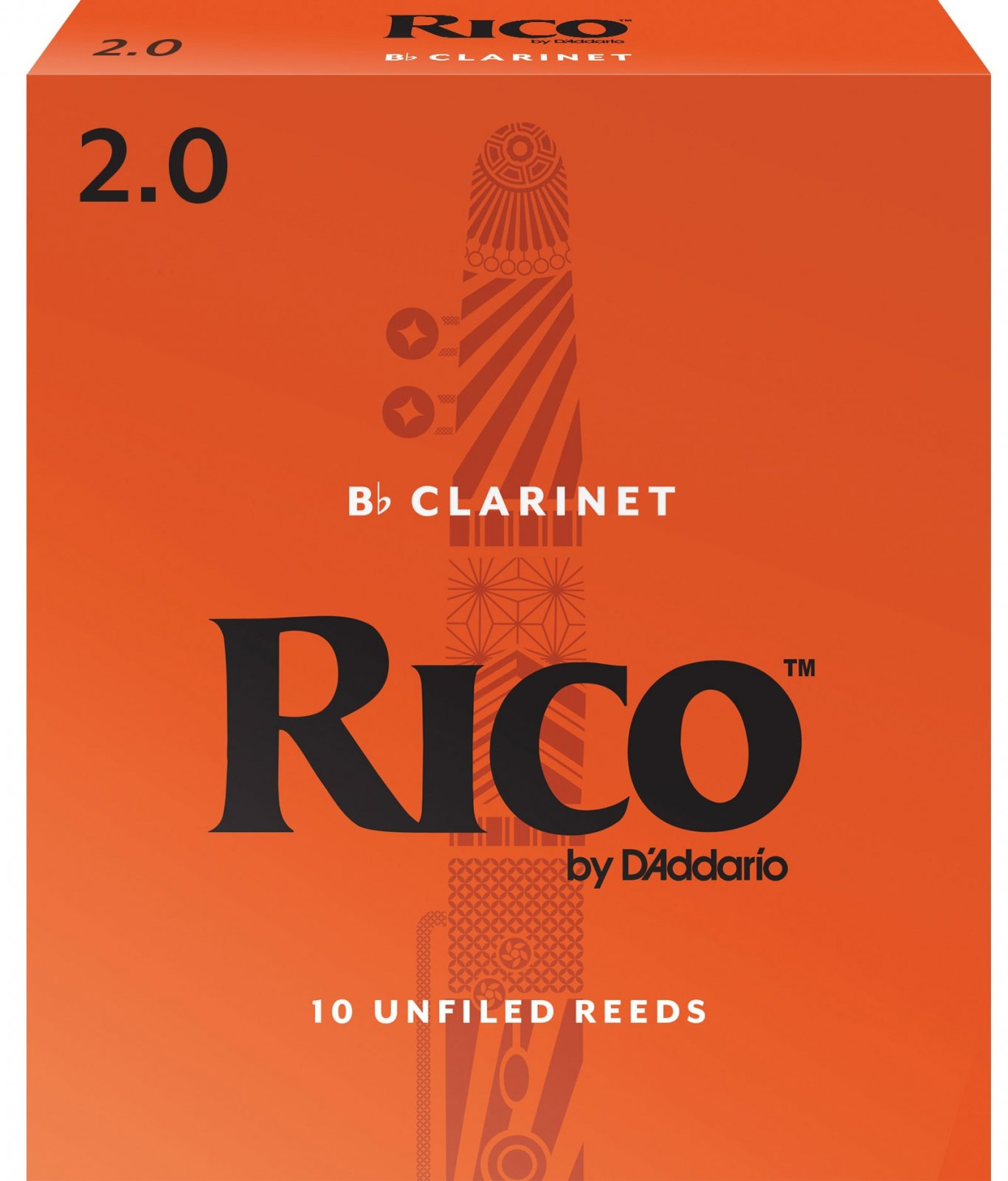 Rico by D'Addario Bb Clarinet Reeds, Strength 2, 10-pack