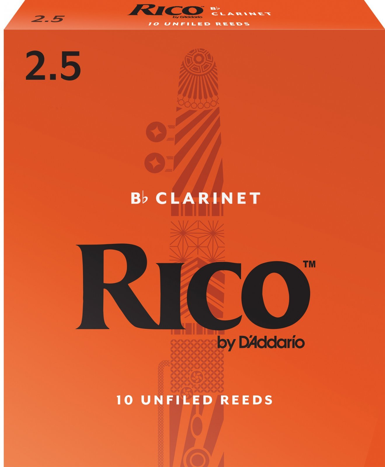 Rico by D'Addario Bb Clarinet Reeds, Strength 2.5, 10-pack