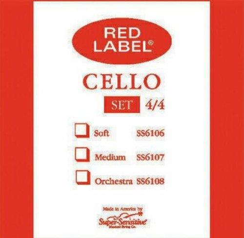 Super Sensitive Red Label 4/4 Cello String Set