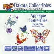 Applique Butterflies Sewin Big -  Dakota Collectibles Embroidery Design Collection