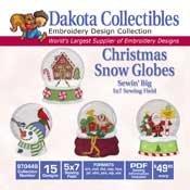 Christmas Snow Globes -  Dakota Collectibles Embroidery Design Collection