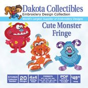 Cute Monster Fringe - Dakota Collectibles Embroidery Design Collection